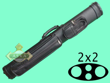 C22K, Aska pool 2 butt 2 shaft hard cue case, black