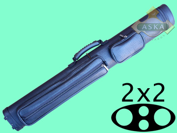 C22P03, Aska pool 2 butts 2 shafts hard cue case, Black