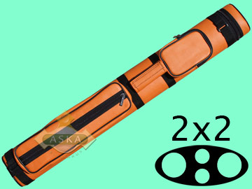Billiard Pool Cue Case 2 butt 2 shaft, Orange, C22P06