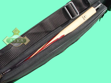 C241C, Aska pool 2 butt 4 shaft hard cue case, angora black