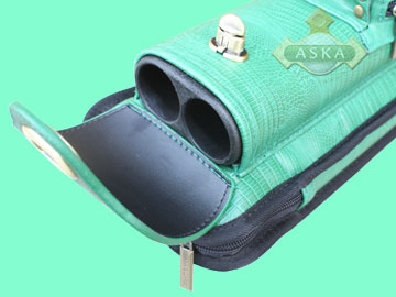 C24A02, Aska pool 2 butts 4 shafts hard cue case, Green