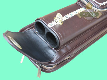 C24A06, Aska pool 2 butts 4 shafts hard cue case, Dark Brown