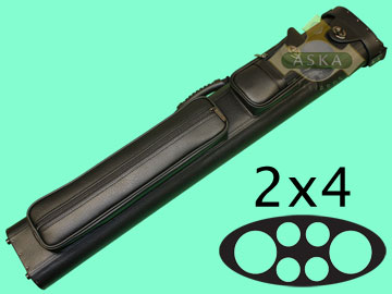 C24P07, Aska pool 2 butts 4 shafts hard cue case, Black
