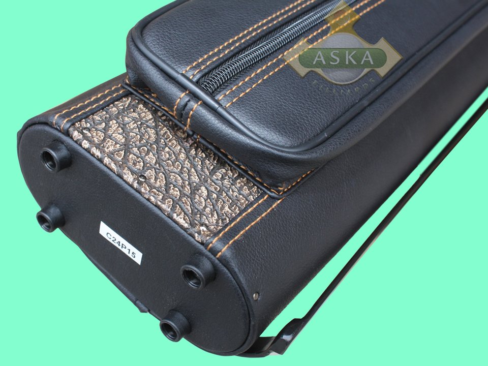 C24p15 Aska Pool 2 Butts 4 Shafts Hard Cue Case Combo Stand