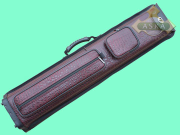 C46P04, Aska pool 4 butts 6 shafts hard cue case, Burgundy