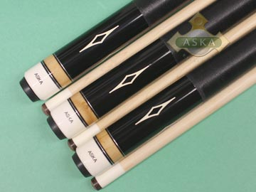 Aska L8 Black 3 pool cue sticks
